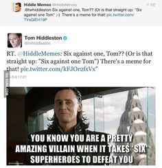 Tom Hiddleston (AKA Loki) Joyfully finding a meme