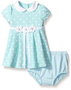 Little Me Little Girls Aqua Dot Ponte Dress with Panty Set, Aqua, 12 Months