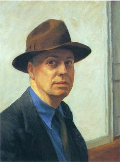 """Edward Hopper, Self-Portrait, 1925-1930. Edward Hopper (July 22, 1882–May 15, 1967), prominent American realist painter and printmaker. Hopper derived his subject matter from two primary sources: one, the common features of American life (gas stations, motels, restaurants, theaters, railroads, and street scenes) and its inhabitants; and two, seascapes and rural landscapes. His best-known paintings include """"Nighthawks,"""" """"Chop Suey,"""" """"Automat,"""" and """"Hotel Lobby."""""""