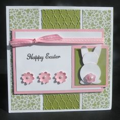 """Easter Bunny Punch Art--used the 1"""" circle punch, 3/4"""" circle punch, and retired Heart to Heart punch for ears and feet. Sentiment from Everybunny."""