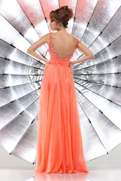 2014 Brightly Colored Prom Dress V Neck Straps Floor Length With Rhinestone