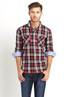 Red and Black Plaid Shirt with contrast lining in the sleeve cuffs