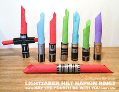 Today, we are doing a simpler version of the Lightsaber Hilt Napkin Rings.  This easier version requires less time, less mess, and less sharp tools… but is just as much fun to make…mayb…
