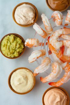 Five Sauces for Shrimp Cocktail (Image credit: Christine Gallary) I have to confess that I'm a shrimp cocktail lover, retro and old school as the appetizer is. It's so simple and elegant at the same time, and it's light enough that Shrimp Appetizers, Shrimp Recipes, Appetizer Recipes, Antipasto, Shrimp Dipping Sauce, Dipping Sauces, Shrimp Cocktail Sauce, Seafood Cocktail, Tapas