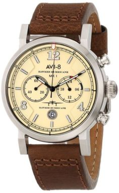 AVI-8 Men's AV-4015-03 Hawker Hurricane Stainless Steel Watch with Leather Band by AVI-8 -- Awesome products selected by Anna Churchill