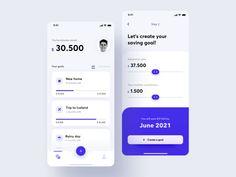 finance app ui Saving Goals App by Iwona Wojciechowska for Netguru Web Design, Layout Design, App Ui Design, Mobile App Design, Interface Design, Design Color, Dashboard Design, Web Layout, Flat Design