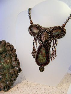 Beaded Embroidery Necklace Jasper Faerie of the by DownstreamDiva. $130.00, via Etsy.