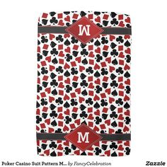 poker casino card suit pattern monogrammed hand towels personalized christmas gift idea under 20 for