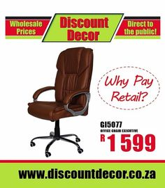Be comfortable and work for longer with the right office chairs. Furnish the corner office with a plush leather executive chair and make your reception area bright and welcoming. For tired, aching backs, we've got just the right ergonomic chairs to support you. Head to our website to view more info http://www.discountdecor.co.za/product-ca…/office-furniture/ 011 616 2026/28  615 Main Reef Road, Denver Johannesburg Shop online or In store for amazing office deals! 🤓 📌 #StupidPrices