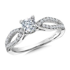 Valina - Princess-Cut Diamond Engagement Ring Mounting in 14k White Gold (.30 ct. tw.) #RQ9829W