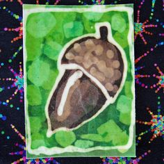 Art Card, the size of a paying card. Batik on cotton, plasticized onto heavy duty watercolor paper.
