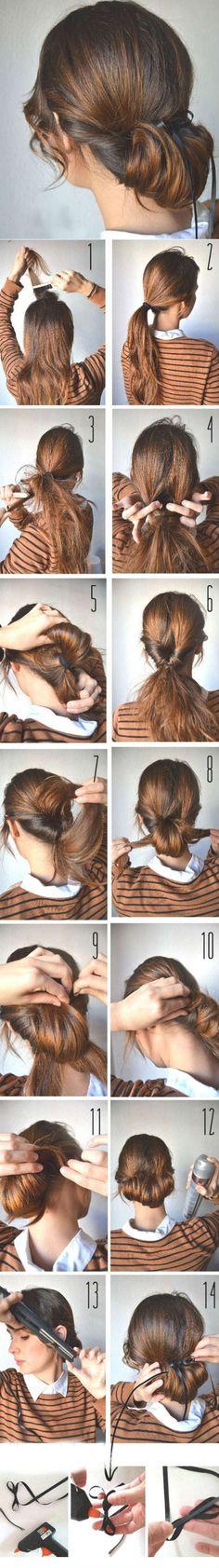 Низкий пучок на длинные волосы пошагово