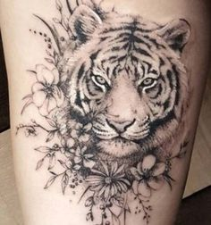 Tiger tattoo for thigh Animal Thigh Tattoo, Tiger Tattoo Thigh, Upper Thigh Tattoos, Tiger Tattoo Design, Tattoo Designs, Lions Tattoo, Wolf Tattoos, Leg Tattoos, Body Art Tattoos