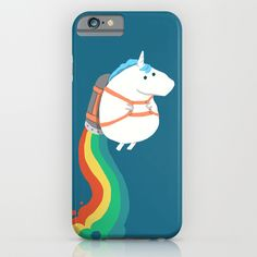 Fat Unicorn on Rainbow Jetpack iPhone & iPod Case Hahaha this is too cute!!!
