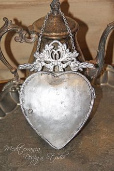 Metal heart exvoto heart metal heart mirror by MediterraneaDesigns