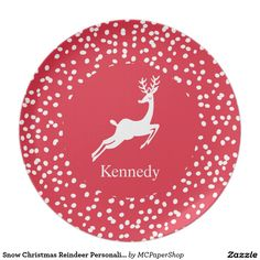 Snow Christmas Reindeer Personalized Holiday Dinner Plate  sc 1 st  Pinterest & Holiday Plaid Pink Christmas Reindeer Personalize Melamine Plate