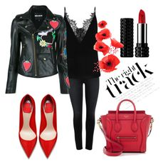 """Fab red"" by nurinur ❤ liked on Polyvore featuring House of Holland, CÉLINE and Kat Von D"