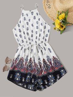 Tribal Print Split Back Slip Romper With Belt Boho Summer Outfits, Summer Outfits For Teens, Teenage Girl Outfits, Cute Casual Outfits, Boho Outfits, Pretty Outfits, Fashion Outfits, Summer Clothes, Casual Summer