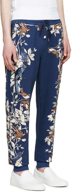 Dolce & Gabbana - Navy Flowers & Birds Lounge Pants