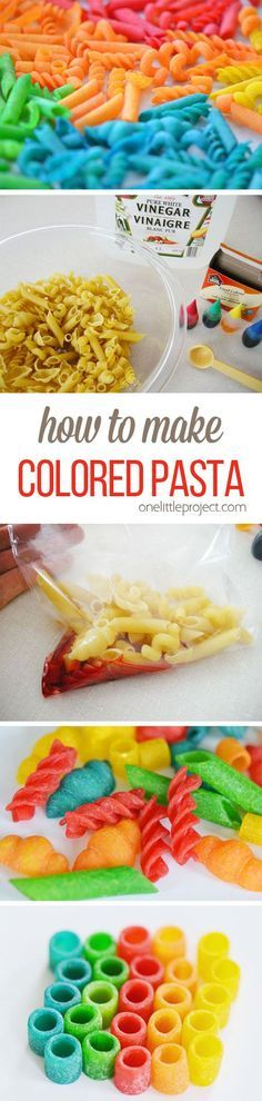 How to make colored pasta - This dyed pasta is so AWESOME for kids crafts! Its also a great sensory activity that can be used to teach sorting, counting, and patterns. So fun!!