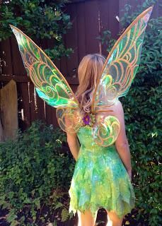 DIY Cellophane Tinkerbell Wings (click on pic to get instructions... there's also a link for a DIY Sleeping Beauty crown)