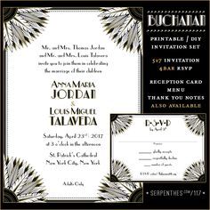 Shop for on Etsy, the place to express your creativity through the buying and selling of handmade and vintage goods. Art Deco Wedding Invitations, Printable Wedding Invitations, Invitation Set, Baby Wedding, Reception Card, Rsvp, Stationery, Marriage, Printables