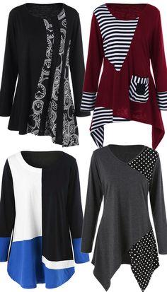 Plus Size Asymmetric Striped Tunic T-Shirt