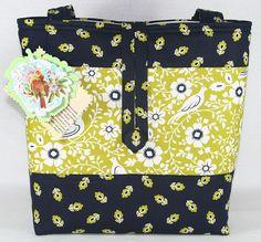 Catalina Bird Lime Green Navy Handmade Tote Bag Handbag Purse Free SHIP | eBay