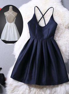 Lovey Blue Graduation Dresses, Short Navy Blue Women Dresses, Cross Ba – BeMyBridesmaid