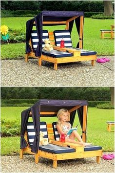 These garden or pool side relaxers are unique DIY pallet wood project. You can build this pair for spending time for your loved one or a safe and relaxing piece of furniture for your kids. The shade will safeguard from any harmful effects of sun rays and you and your children can enjoy the outdoor environment. #woodcraftplans