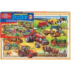 T.S. Shure American Tractors Jumbo Wooden Puzzles in a Wooden Box, 2 Puzzles