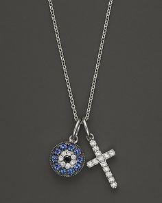 "Diamond and Sapphire Evil Eye & Cross Pendant in 14K White Gold, 18""   Bloomingdale's"