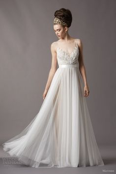 Sheer and tulle wedding dress