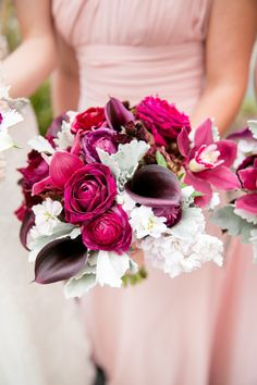 Berry-hued bouquets that stun: http://www.stylemepretty.com/collection/2787/