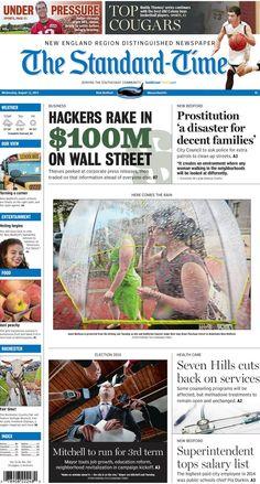 The Standard-Times. Aug. 12, 2015.  New Bedford City Council wants action on city's prostitution problem; Buddy Thomas reveals his top picks for Old Colony; Jon Mitchell announces he's running for re-election, and more.