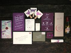 Vineyard Wedding invitation suite - good idea with red wine ring stain, and love the colours!