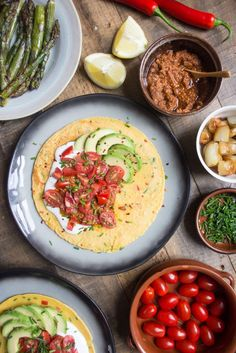 Gluten free chilli and chive chickpea pancakes with avocado and tomato