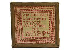 Framed Cross Stitch Alphabet Embroidery Sampler. French