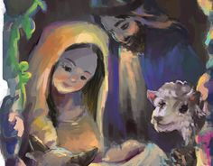 An illustration I did for a children's book for a former client about Christmas. Done in Adobe Photoshop. Holy Family, Adobe Photoshop, Holi, Childrens Books, Illustrations, Christmas, Painting, Art, Children's Books