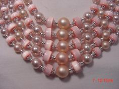 Vintage Japan Pink &  Faux Pearl Plastic Bead Five Strand