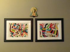 Embroidered place mats from Mexico framed