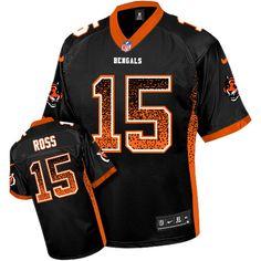 df17c68eee0 Nike Bengals #15 John Ross Black Team Color Men's Stitched NFL Elite Drift  Fashion Jersey