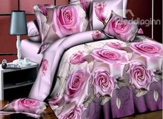 Noble #Pink #Rose #3D Printed 4-Piece Polyester Duvet Cover #bedroom #bedding
