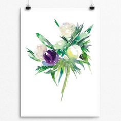 Beautifully painted with Watercolor  PTP Flower Series 014  Pear Tea Paperie Original Flower Series  INSTANT DIGITAL PRINT   No Physical Paintings