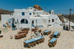 Greek weddings Anafi island / bistro lights / Greek deco / taverne tables