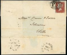 Cancellations: Barred Numeral Cancellations: 1844 (May 1) entire from Bridgwater to Wells, bearing fine 1841 1d. red-brown NH, tied by ''123'' barred numeral used on the first day, on reverse has Wells receiving mark of the same date, a superb and rare item. One of 28 known.