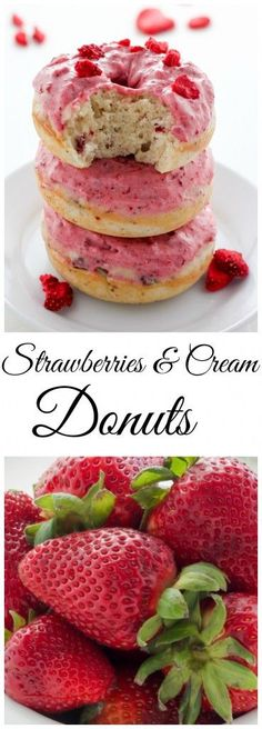 Strawberries and Cream Donuts - These pretty pink treats are soft, fluffy, and bursting with strawberry flavor. The best part?! They're baked and ready in just 20 minutes!