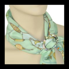 ANNE TOURAINE Paris™: Rêves de Soie celadon green scarf and LARGE SCARF RING - PAUA SHELL