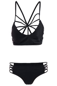 bee39de0c72  13.68 Strappy Criss Cross Bikini Set Cute Bikinis