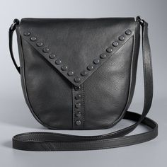 Simply Vera Vera Wang Studded Flap Leather Saddle Crossbody Bag ($90) ❤ liked on Polyvore featuring bags, handbags, shoulder bags, black, leather shoulder handbags, purse crossbody, crossbody shoulder bag, crossbody saddle bag and crossbody purses